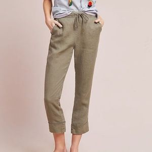 Michael Stars Green Linen Cropped Pant Size Small